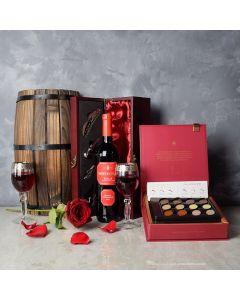 ValentineâWine & Chocolate Gift Basket, wine gift baskets, chocolate gift baskets, Valentine's Day gifts, gift baskets, romance