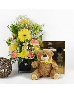 Chocolate & Teddy Sunrise Mixed Bouquet