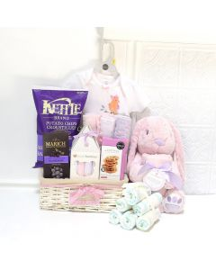 THEREâA NEW BABY GIRL IN TOWN GIFT BASKET, baby girl gift basket, welcome home baby gifts, new parent gifts