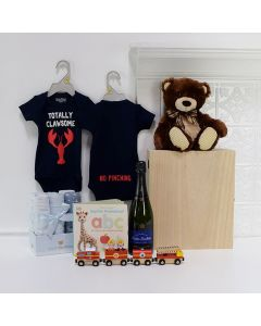 Baby Boy Celebration Crate, baby gift baskets, baby boy, baby gift, new parent, baby, champagne