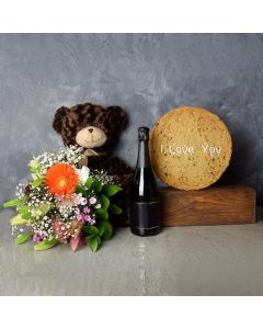 I Love You Cookie & Champagne Gift Set