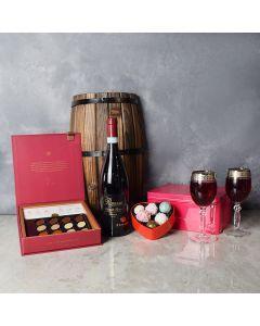 Rouge Hill ValentineâDay Wine Basket, wine gift baskets, floral gift baskets, Valentine's Day gifts, gift baskets, romance