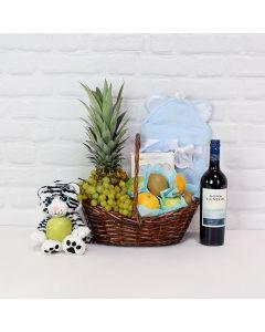 Fruit Cocktail & Cuddles Gift Set, baby gift basket, wine gift basket, baby gifts