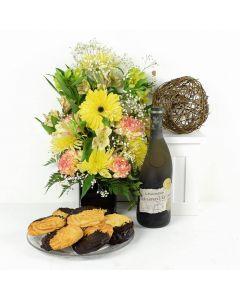 Joyful Sunrise Mixed Bouquet & Wine Gift