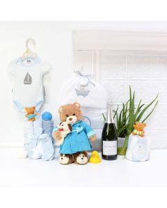 Baby BoyâBath Time Celebration Set, baby gift baskets, baby boy, baby gift, new parent, baby, champagne