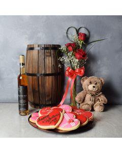 Swansea ValentineâDay Basket, wine gift baskets, floral gift baskets, Valentine's Day gifts, gift baskets, romance