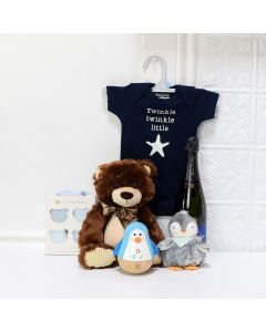 Baby Boy Champagne Set, baby gift baskets, baby boy, baby gift, new parent, baby toys