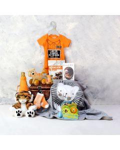 UNISEX BABY'S PLAY & CELEBRATION SET WITH CHAMPAGNE, unisex baby gift hamper, newborns, new parents