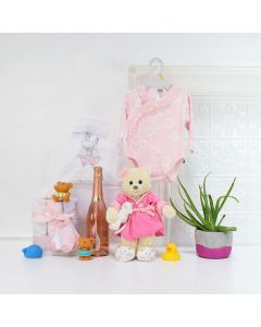 Baby GirlâBath Time Celebration Set, baby gift baskets, baby boy, baby gift, new parent, baby, champagne