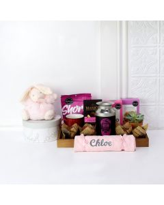 FOR THE NEWBORN MEMBER OF THE PINK TEAM GIFT BASKET, baby girl gift basket, welcome home baby gifts, new parent gifts
