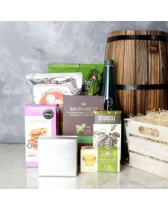 The Sparkling Snack Gift Crate, gourmet gift baskets, gourmet gifts, gifts